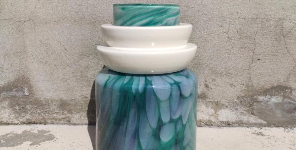 Green vase Totem #4 - 1  white ananas ring