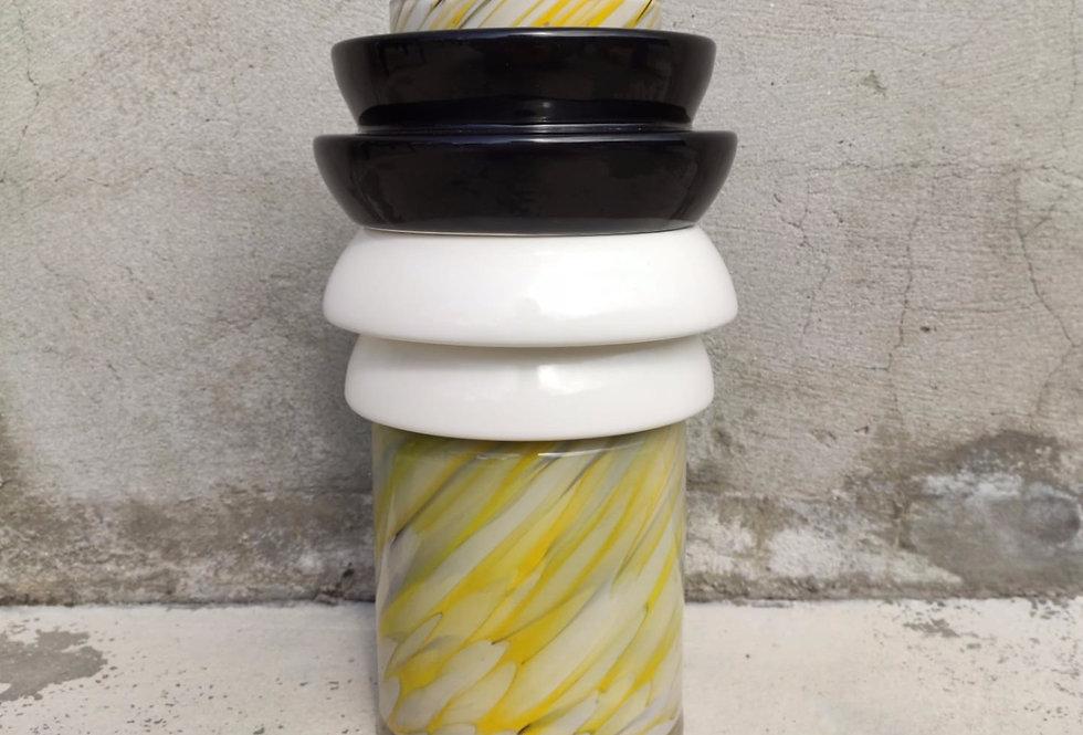 Yellow vase Totem #3 - 2 black & white ananas rings