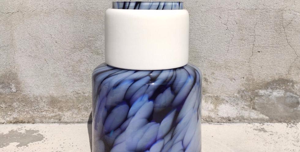 Blue vase Totem #4 - 1 white ring
