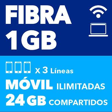 FIBRA 1 GB + 3 ILIMITADAS 24 GB COMPARTIDOS