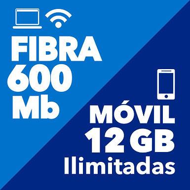 FIBRA 600 Mb + MÓVIL ILIMITADO 12 GB