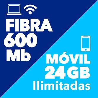 FIBRA 600 Mb + MÓVIL ILIMITADO 24 GB