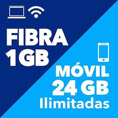 FIBRA 1 GB + MÓVIL ILIMITADO 24 GB