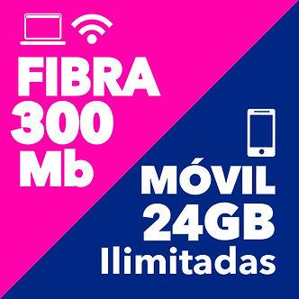 FIBRA 300 + MÓVIL ILIMITADO 24 GB