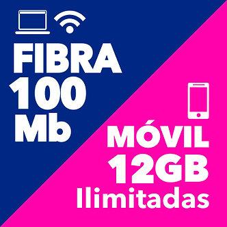 FIBRA 100 + MÓVIL ILIMITADO 12GB