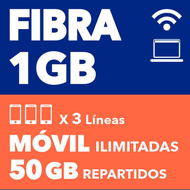 FIBRA 1 GB + 3 ILIMITADAS 50 GB REPARTIDOS