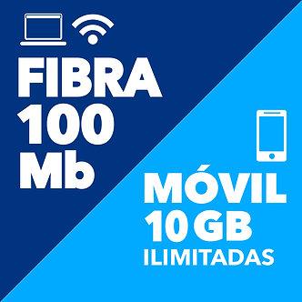 FIBRA 100 + MÓVIL 10GB