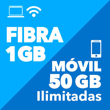 FIBRA 1 GB + MÓVIL ILIMITADO 50 GB
