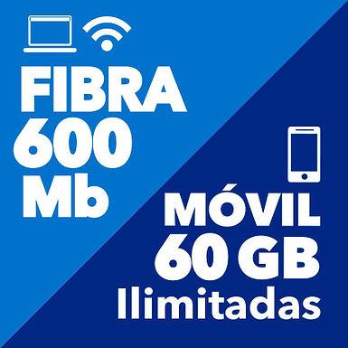 FIBRA 600 Mb + MÓVIL ILIMITADO 60 GB