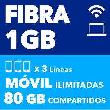 FIBRA 1 GB + 3 ILIMITADAS 80 GB COMPARTIDOS