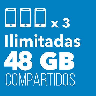 3 ILIMITADAS con 48 GB Compartidos