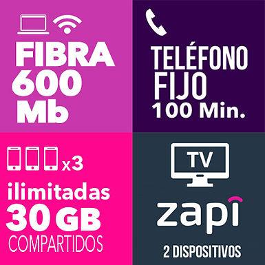 Fibra 600 + 3 ilimitadas 30 GB + Fijo + TV