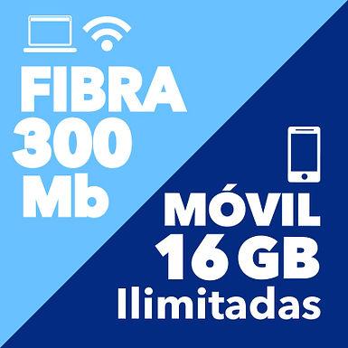 FIBRA 300 Mb + MÓVIL ILIMITADO 16 GB