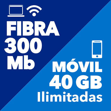 FIBRA 300 Mb + MÓVIL ILIMITADO 40 GB