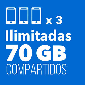 3 ILIMITADAS con 70 GB Compartidos