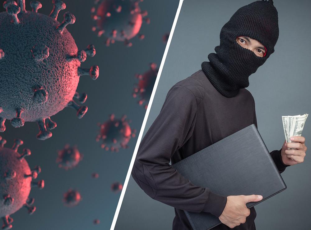 Un ladrón con pasamontañas lleva un ordenador y un fajo de dinero, junto con otra imagen del Coronavirus