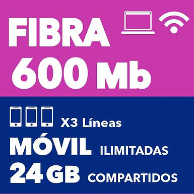 FIBRA 600 MB + 3 ILIMITADAS 24 GB COMPARTIDOS