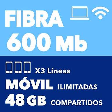 FIBRA 600 MB + 3 ILIMITADAS 48 GB COMPARTIDOS