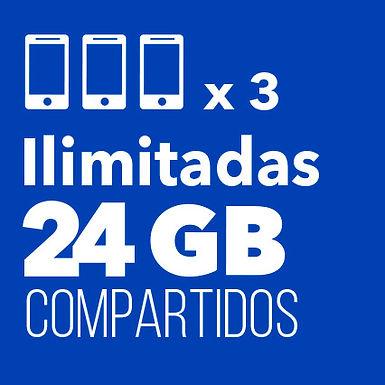 3 ILIMITADAS con 24 GB Compartidos