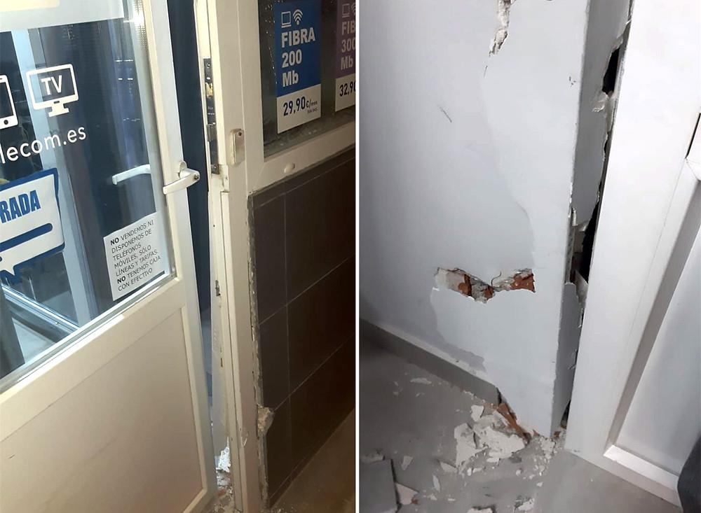 Los ladrones rompieron la puerta de Vallecas Telecom ubicado en la Avenida del Ensanche de Vallecas 108