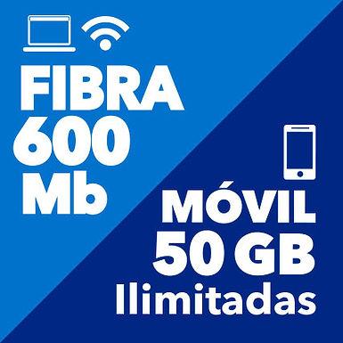 FIBRA 600 Mb + MÓVIL ILIMITADO 50 GB