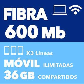 FIBRA 600 MB + 3 ILIMITADAS 36 GB COMPARTIDOS