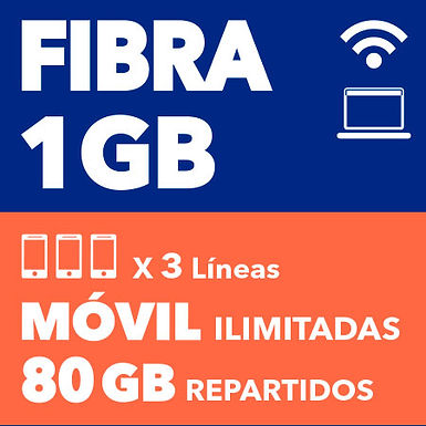 FIBRA 1 GB + 3 ILIMITADAS 80 GB REPARTIDOS