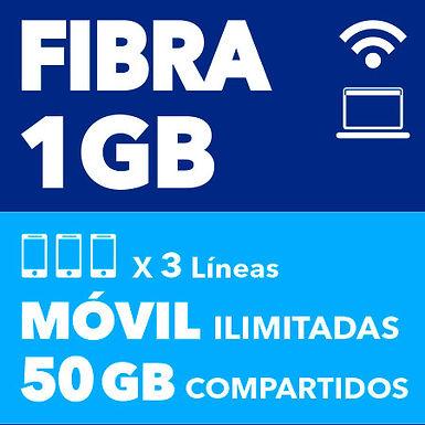 FIBRA 1 GB + 3 ILIMITADAS 50 GB COMPARTIDOS