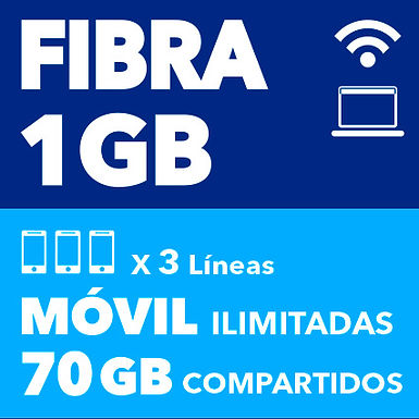 FIBRA 1 GB + 3 MÓVILES 70 GB COMPARTIDOS