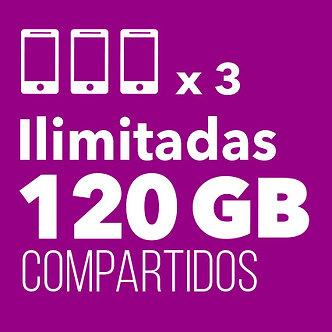 3 ILIMITADAS con 120 GB Compartidos
