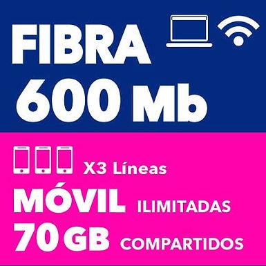 FIBRA 600 + 3 MÓVILES 70 GB COMPARTIDOS