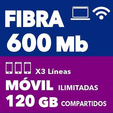 FIBRA 600 MB + 3 ILIMITADAS 120 GB COMPARTIDOS