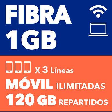 FIBRA 1 GB + 3 ILIMITADAS 120 GB REPARTIDOS