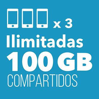 3 ILIMITADAS con 100 GB Compartidos