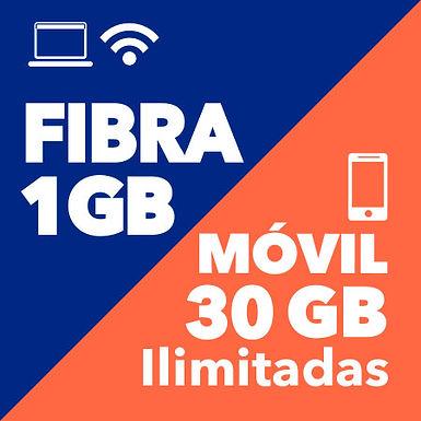FIBRA 1 GB + MOVIL ILIMITADO 30 GB