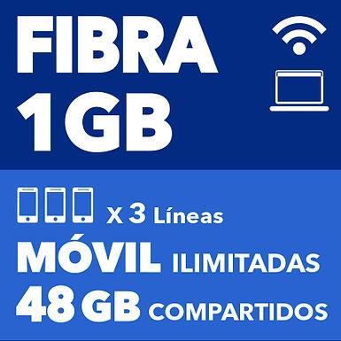 FIBRA 1 GB + 3 ILIMITADAS 48 GB COMPARTIDOS