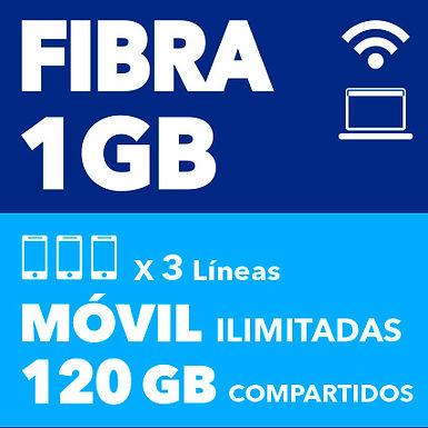 FIBRA 1 GB + 3 ILIMITADAS 120 GB COMPARTIDOS