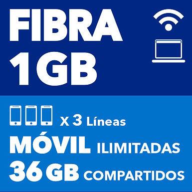 FIBRA 1 GB + 3 ILIMITADAS 36 GB COMPARTIDOS