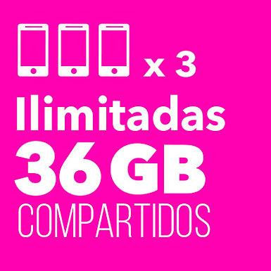 3 ilimitadas con 36 GB Compartidos