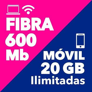 FIBRA 600 Mb + MÓVIL ILIMITADO 20 GB