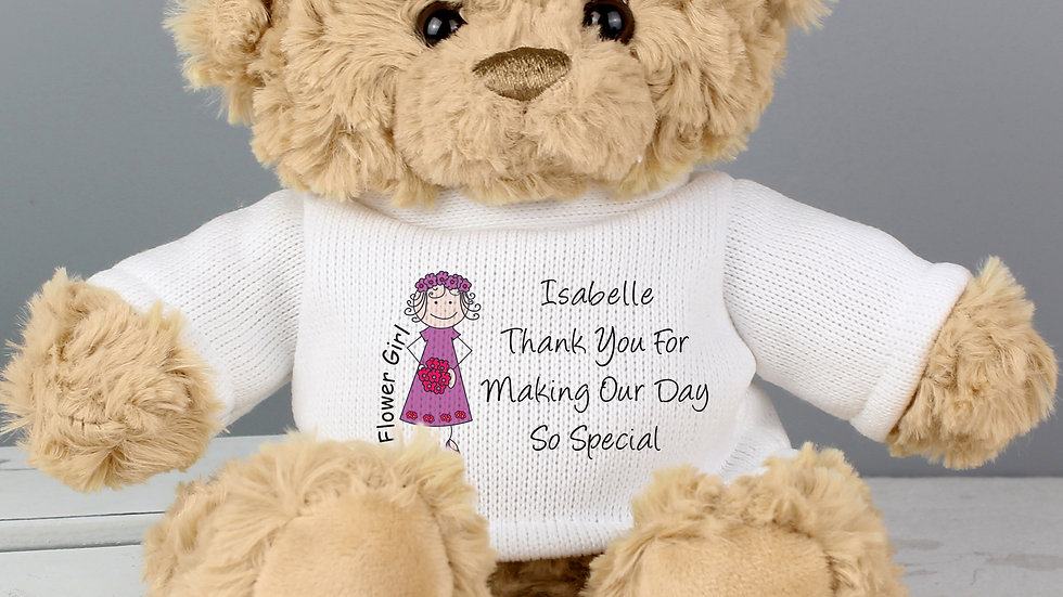 Personalised Cartoon Flower Girl Teddy Bear