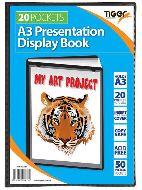 A3 Presentation Display Book Black 20 Pocket