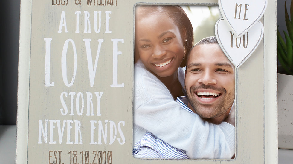 Personalised Love Story 6x4 Wooden Photo Frame