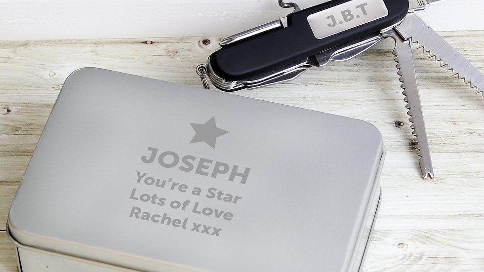 Personalised Star Pen Knife and Box Set