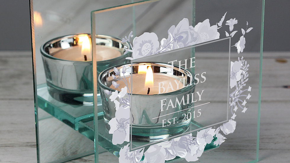 Personalised Soft Watercolour Mirrored Glass Tea Light Candle Holder