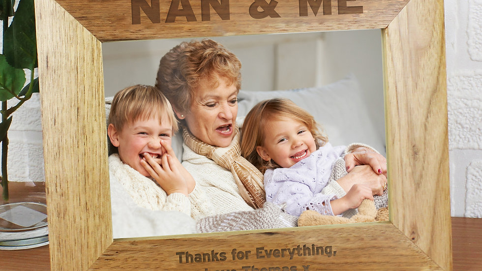 Personalised Nan & Me 7x5 Landscape Wooden Photo Frame