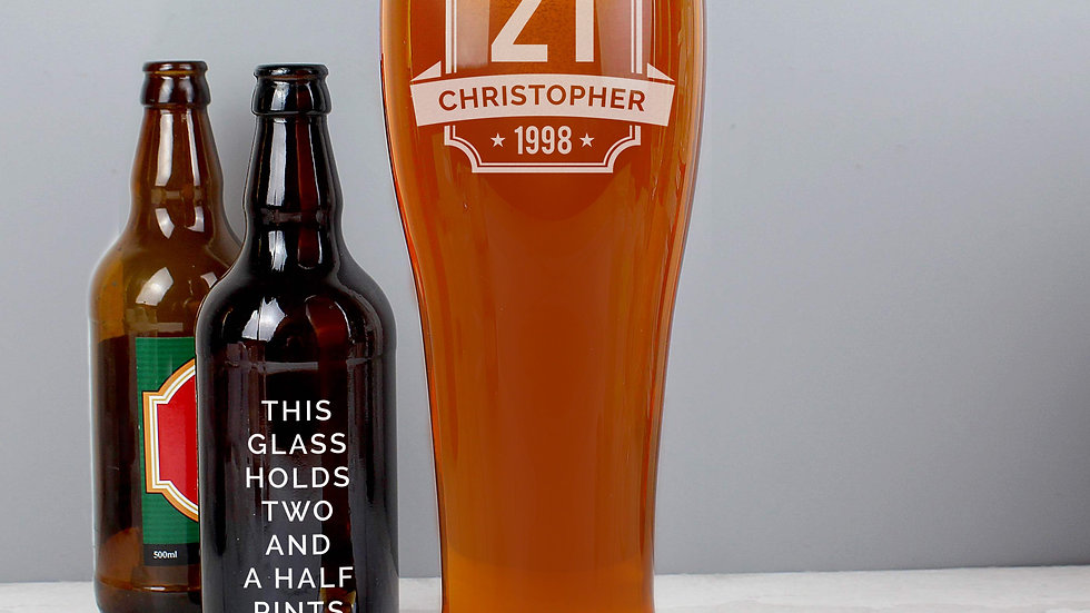 Personalised Big Age Giant Two And A Half Pint Beer Glass