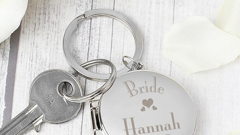 Personalised Decorative Wedding Bride Round Photo Keyring
