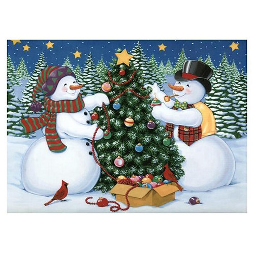 Snowmen with Christmas tree