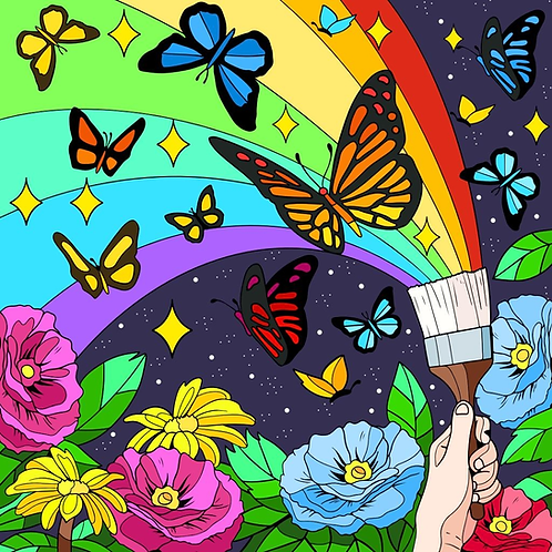 Paint brush rainbow